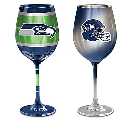 Seattle Seahawks NFL Wine Glass Collection: Sets of 2