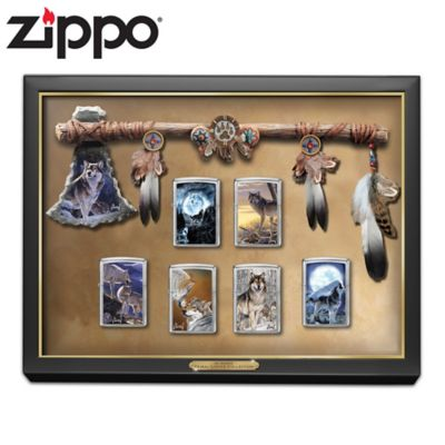 Al Agnew Wolf Art Zippo® Lighters With Display Case by