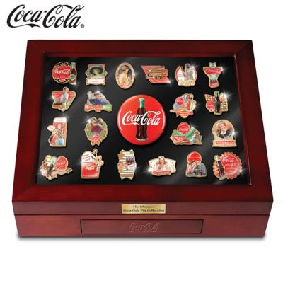 COCA-COLA Enameled Pin Collection With Custom Display Case by