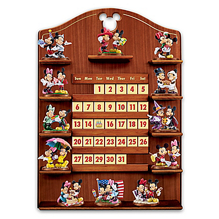 Mickey Mouse and Minnie Mouse Perpetual Calendar with Figurines