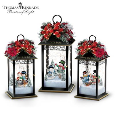 Thomas Kinkade Illuminated Snowman Lantern Collection by