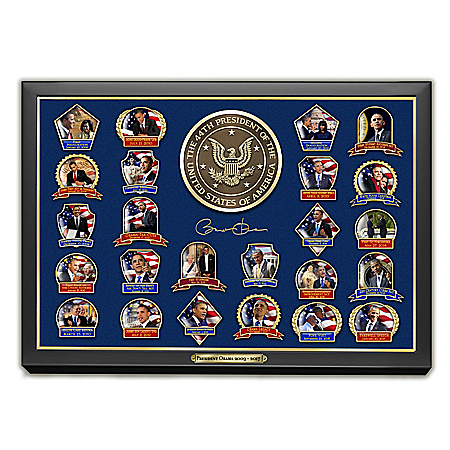 Barack Obama Presidential Pin Collection with Collector Cards and Custom Display