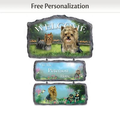 Linda Picken Yorkies Personalized Welcome Sign Collection by