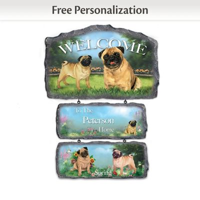Linda Picken Pugs Personalized Welcome Sign Collection by