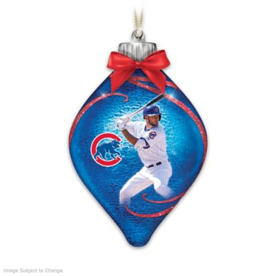 Cubs Lighted Glass Christmas Ornament Collection by