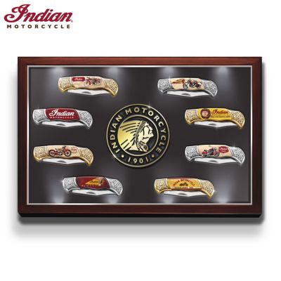 Indian Motorcycle Knife Collection With Illuminated Display by
