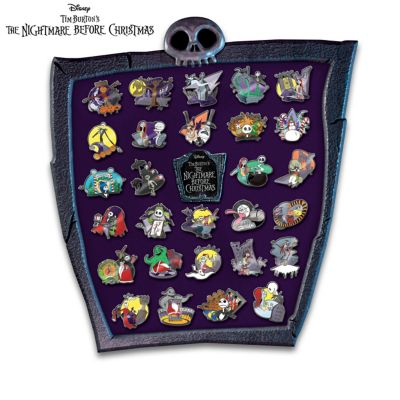 Nightmare Before Christmas Pin Collection With Display by