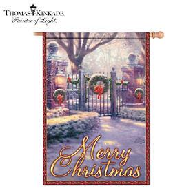 """Thomas Kinkade """"Gateways Of Light"""" Holiday Flag Collection"""