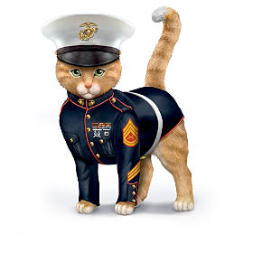 """Paws & Salute the U.S.M.C."" Cat Figurine Collection"