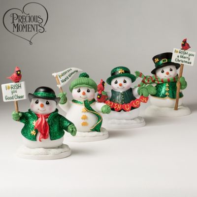 Precious Moments Irish You Many Blessings Snowman Figurines by