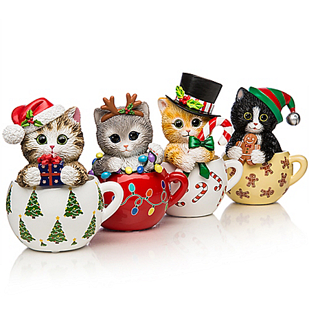 Image Kayomi Harai's Meow-y Christmas Cups Cat Figurine Collection