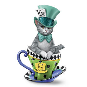 "Disney ""Tea-lightful Wonderland"" Cat Figurine Collection"
