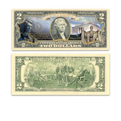 Official U S 2 Bills Honoring Americas Historic Monuments