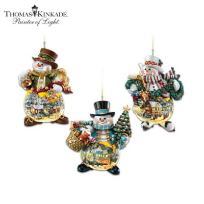 Thomas Kinkade Holiday Art Illuminated Snowman Ornaments by