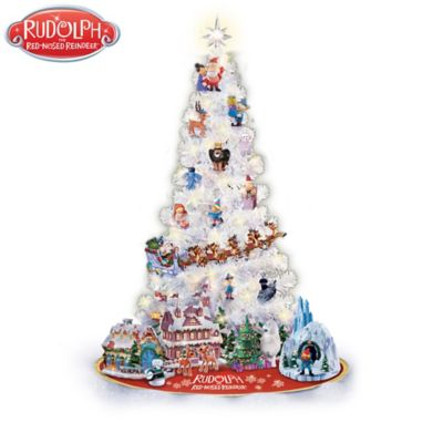 rudolph christmas tree collection 3 foot pre lit tree with ornaments and figurines