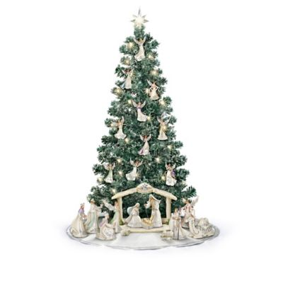 Silver Blessings Nativity Illuminated Christmas Tree Collection