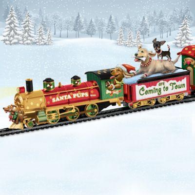Santa Pups Bobblehead Dog Illuminated Train Collection by