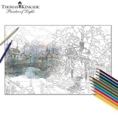 Thomas Kinkade Adult Coloring Kit Collection With Pencils by