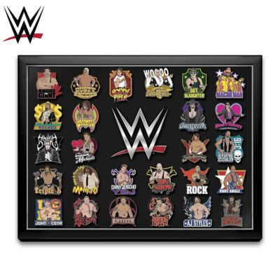WWE Superstars Pin Collection With Custom Display Case by