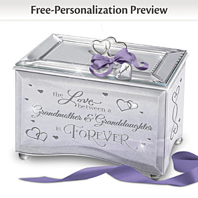 Keepsake Music Box The Love Between A Grandmother And Granddaughter Personalized Mirrored Jewelry Musical Box