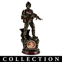 U.S. Marine Corps Courage Cold-Cast Bronze Sculpture With Challenge Coin