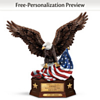Personalized Heroes Tribute Box With Eagle Sculpture and Old Glory