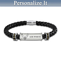 Air Force Personalized Men's Braided Leather ID Bracelet
