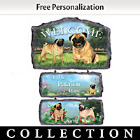 Lovable Pugs Personalized Welcome Sign Collection