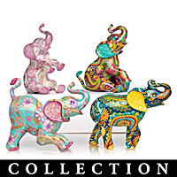 Paisley Patterned Elephant Figurine Collection