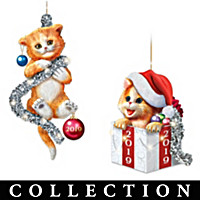 Tails Of Christmas Mischief Ornament Collection