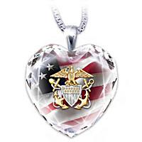U.S. Navy Crystal Heart Pendant Necklace