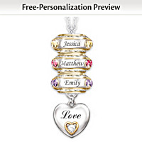 Forever In A Mother\'s Heart Personalized Pendant Necklace