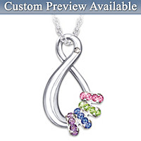 Mother\'s Infinite Joy Birthstone Pendant Necklace