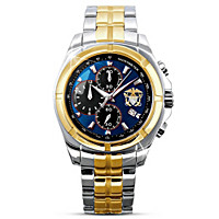 Navy Commemorative Men's Engraved Watch