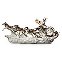 Santa\'s White Wolf Sleigh Illuminated Sculpture