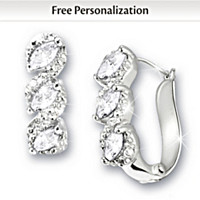 Celebration Birthstone And Diamond Personalized Earrings