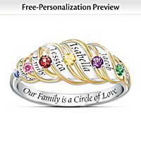 Our Family Is A Circle Of Love Personalized Ring