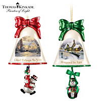 Thomas Kinkade Ringing In The Holidays Ornament Set: Set 8