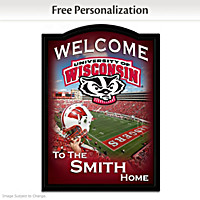 Wisconsin Badgers Personalized Welcome Sign