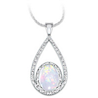 Opulence Australian Opal And Diamond Pendant Necklace