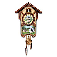 Spirited Shih Tzus Cuckoo Clock