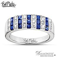 Bob Mackie Blue And Bold Diamonesk Ring