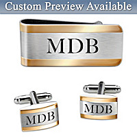 Cuff Links And Money Clip Personalized Men\'s Accessory Set