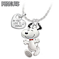 Snoopy Does The Happy Dance Diamond Pendant Necklace
