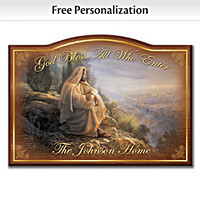God Bless All Who Enter Personalized Welcome Sign