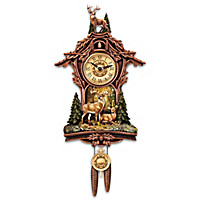 Whitetail Gathering Cuckoo Clock