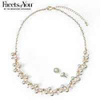 Sparkling Champagne Necklace And Earrings Set