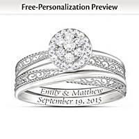 Love\'s Embrace Personalized Diamond Bridal Ring Set