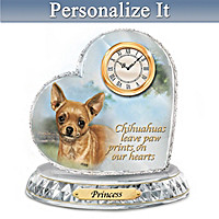 Chihuahua Crystal Heart Personalized Clock