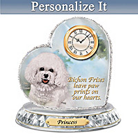 Bichon Frise Crystal Heart Personalized Clock